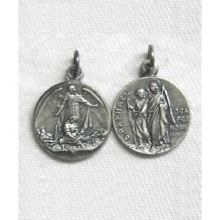 Medaille Hl. Raphael, Neusilber oxidiert