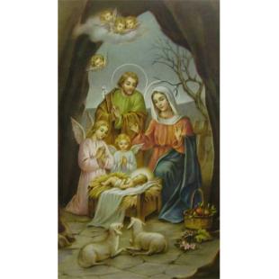 Heiligenbild Hl. Familie mit Engeln und Schafen