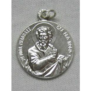 Judas-Thaddäus-/Hl. Josef-Medaille, Neusilber, weiß gebürstet, 19 mm