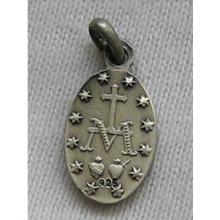 Wundertätige Medaille, Silber 925, oxidiert, 16 mm