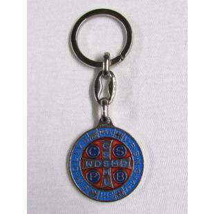 Schlüsselanhänger Benediktusmedaille blau-rot