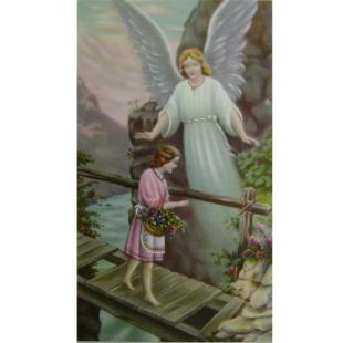Heiligenbild Schutzengel mit Mädchen