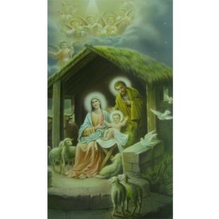 Heiligenbild Heilige Familie im Stall