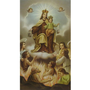 Heiligenbild Jungfrau Maria vom Berge Karmel mit Fegefeuer