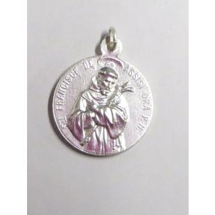 Hl. Franziskus/Hl. Antonius Medaille, Neusilber, weiß gebürstet, 19 mm