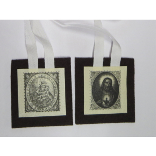 Braunes Skapulier Karmel mit zwei Bildnissen